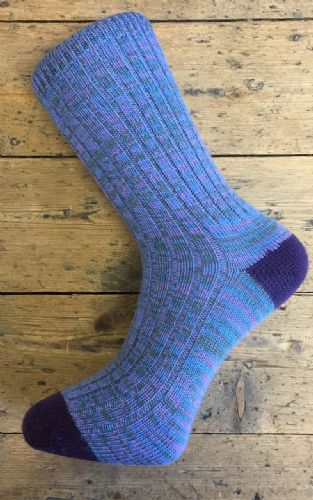 Men's Wool Socks - Blue Green Purple - Machine Washable.